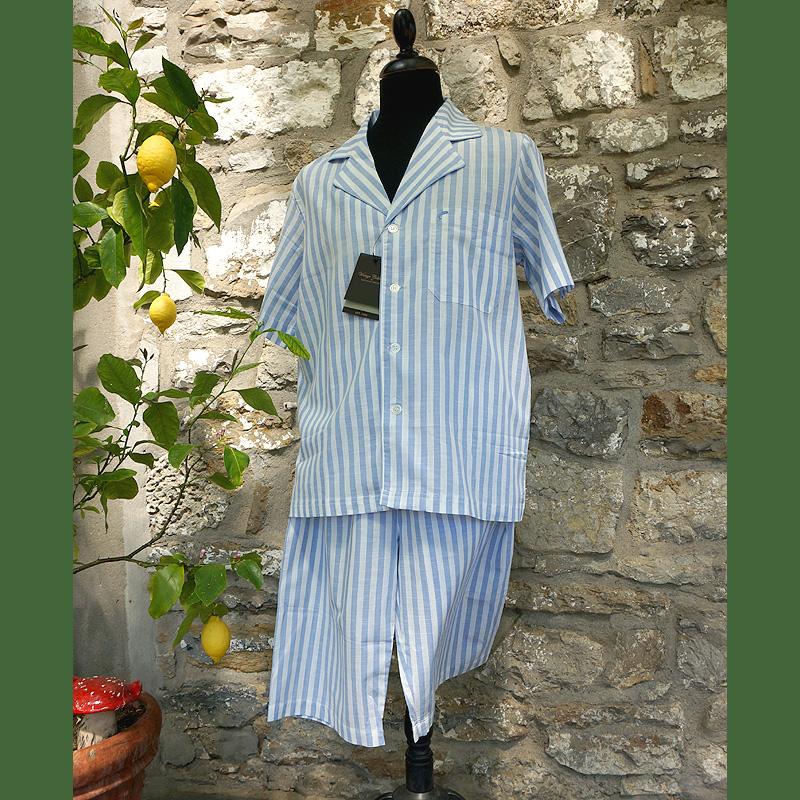 Pyjama blau-weiß-gestreift