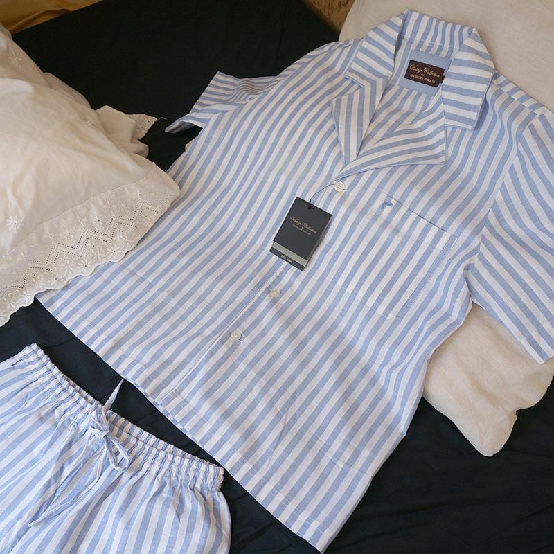 Baumwoll-Pyjama- Kurzbein