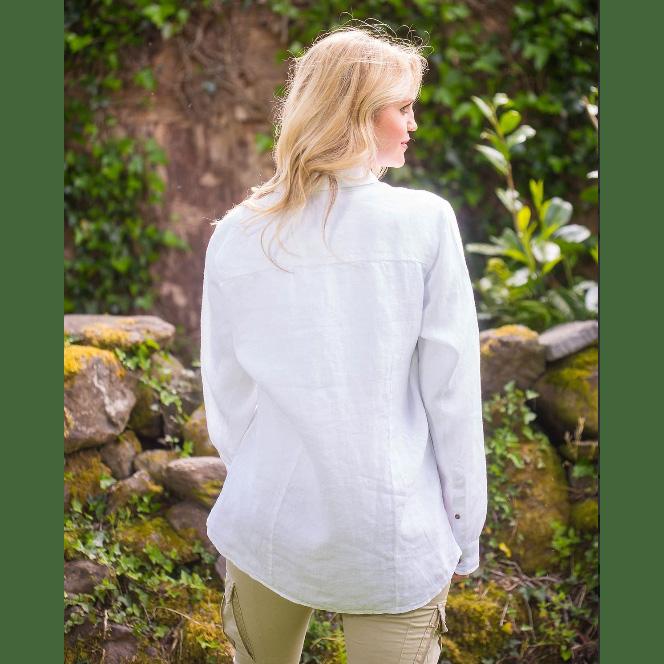 weiße leinenbluse , Rückenansicht