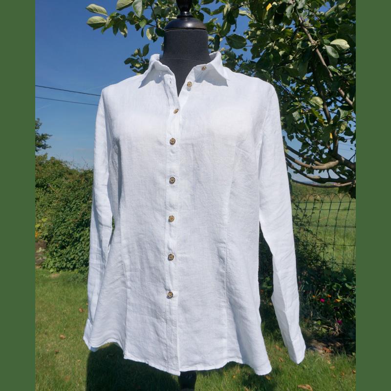 Damenhemd aus Leinen, weiß