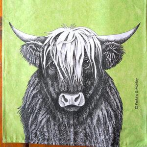 geschirrtuch schottische Kuh auf grünem Hintergrund